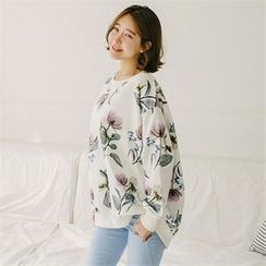 JOAMOM - Drop-Shoulder Floral-Pattern T-Shirt