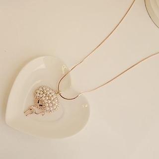 Love Generation - Faux-Pearl Rhinestone Cat Necklace