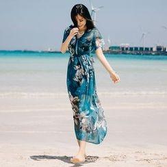 Aegean - Floral Print Short Sleeve Chiffon Dress