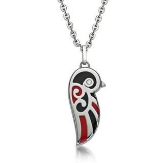 Kenny & co. - Black and Red Enamel Lovebird Necklace