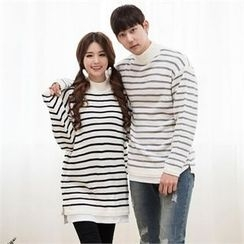 STYLEMAN - Mock-Neck Stripe Sweater