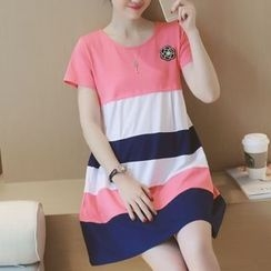 Ekim - Maternity Color Block Short-Sleeve Dress