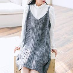 Plum Forest - Ribbed Strap Knit Dress