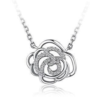 BELEC - White Gold Plated 925 Sterling Silver Flower Pendant with White Cubic Zirconia and 45cm Necklace