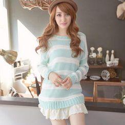 Tokyo Fashion - Lace-Hem Striped Long Sweater