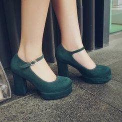 Gizmal Boots - Buckled Block Heel Pumps