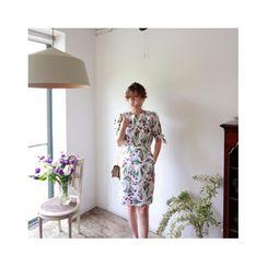 LEELIN - Tie-Sleeve Floral Print Dress
