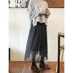 FROMBEGINNING - Polka-Dot Maxi Chiffon Skirt