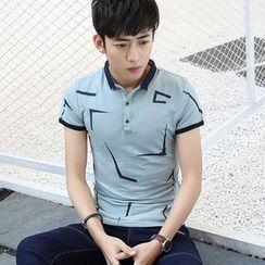 NINETTE - Short-Sleeve Contrast Trim Printed Polo Shirt