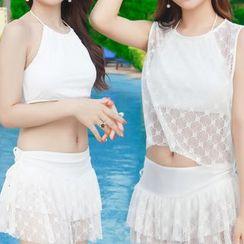 Sweet Splash - Set: Plain Tankini + Lace Top + Skirt