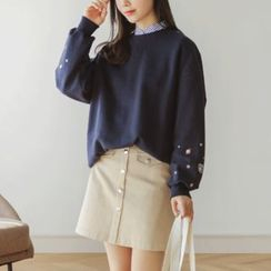 JUSTONE - Star-Embroidered Cotton Sweatshirt