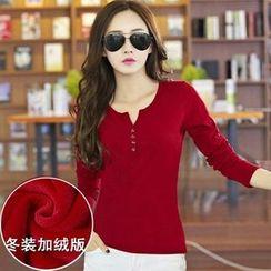 Sienne - Plain Long Sleeve Henley T-Shirt