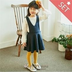 LILIPURRI - Girls Set: Ruffle-Cuff Top + Suspender Flare Skirt