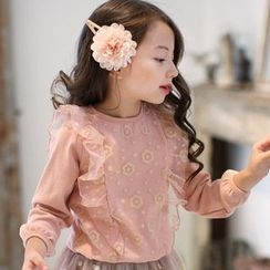 Kidora - Kids Frilled Sheer Panel Pullover