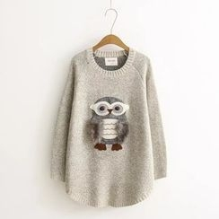 ninna nanna - Owl Applique Knit Top