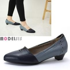 MODELSIS - Genuine Leather Two Tone Pumps