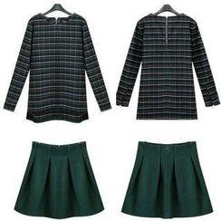 JVL - Set: Long-Sleeve Plaid Top + Pleated Skirt