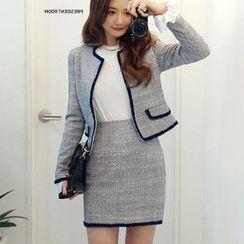 chuu - Fringed Tweed Mini Pencil Skirt