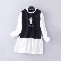 Rega - Mock Two Piece Printed Long Sleeve Dress
