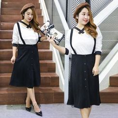 Inopine - Set: Cross Front Blouse + Buttoned Midi Suspender Skirt