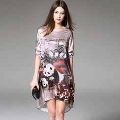 Y:Q - Tab-Sleeved Panda-Print Midi Dress