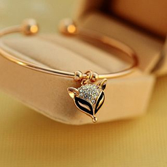 Cheermo - Rhinestone Fox Open Bangle