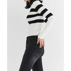 Someday, if - Mock-Neck Striped-Trim Knit Top