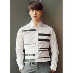 JOGUNSHOP - Long-Sleeve Striped-Detail Shirt