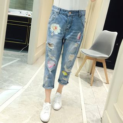 VIZZI - Cropped Distressed Jeans