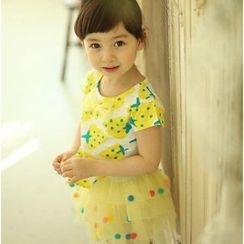 Kidora - 小童套装: 印花无袖上衣 + 毛球网纱裙