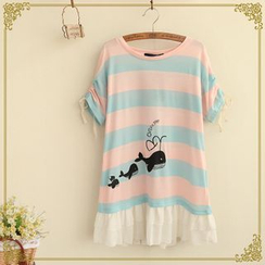 Fairyland - Striped Whale Print T-Shirt