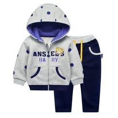 Ansel's - Kids Set: Applique Hooded Jacket + Sweatpants