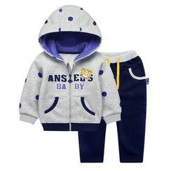 Ansel's - 童裝套裝: 貼布繡連帽外套 + 運動褲