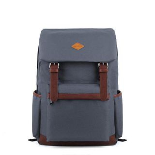 Mr.ace Homme - Faux Leather Trim Canvas Backpack