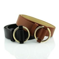Follow Me - Round Buckle Faux Leather Belt