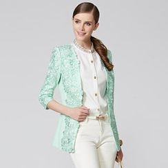 O.SA - 3/4-Sleeve Crochet-Panel Jacket
