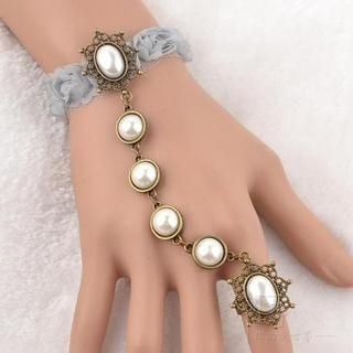 Trend Cool - Faux Pearl Corsage Ring Bracelet