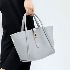 LINGLAN - Set: Faux Leather Tote + Crossbody Bag