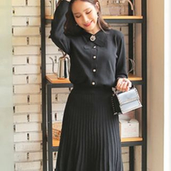 Cherryville - Set: Brooch Cardigan + Pleated Skirt