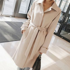 mimi&didi - Hidden-Button Trench Coat with Sash