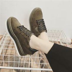Hipsole - Faux-Suede Hidden Heel Sneakers