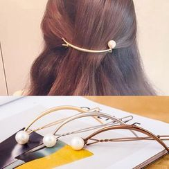 Cheermo - Faux Pearl Curled Hair Clip