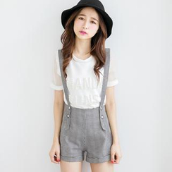 Tokyo Fashion - Patterned Suspenders Shorts