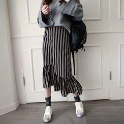 NIPONJJUYA - Ruffle-Hem Stripe Long Skirt