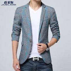 Jazz Boy - Notched-Lapel Single-Button Check Blazer