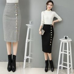 Hazie - Buttoned Knit Pencil Skirt
