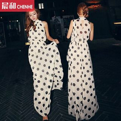Morning Dew - Polka Dot Maxi Chiffon Dress