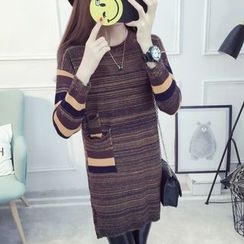 Cotton Candy - Long-Sleeve Striped Knit Dress