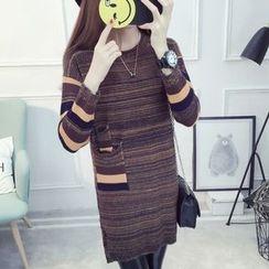 Cotton Candy - 長袖條紋針織連衣裙