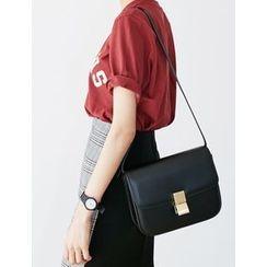 FROMBEGINNING - Flap Faux-Leather Shoulder Bag